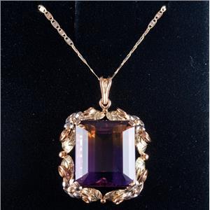 Vintage 1960's 14k Black Hills Gold Ametrine Solitaire Necklace 19.18ctw