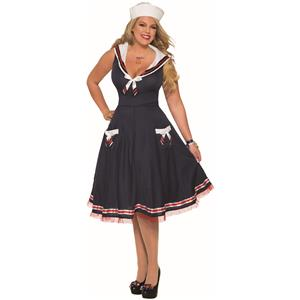 Sexy Ahoy Lady Navy Blue Women's Sailor Halloween Costume Plus
