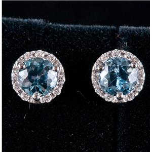 14k White Gold Round Cut Aquamarine & Diamond Halo Stud Earrings 1.20ctw