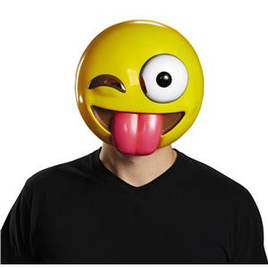 Tongue Out Crazy Wink Emoticon Emoji Adult Mask