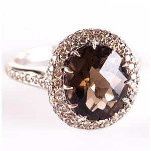 18k White Gold Oval Cut Smokey Quartz & Diamond Halo Cocktail Ring 6.1ctw