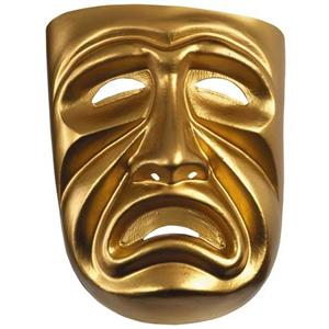 Gold Painted Tragedy Adult Mask Frown Sad Face