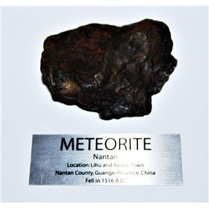 NANTAN IRON NICKEL METEORITE -Genuine-170.0  gram + label & COA#14345 9o