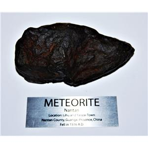 NANTAN IRON NICKEL METEORITE -Genuine-481.9  gram + label & COA# 14348 20o