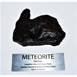 NANTAN IRON NICKEL METEORITE -Genuine-153.0  gram + label & COA# 14350 9o