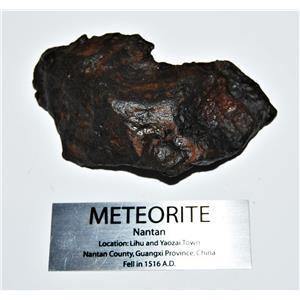 NANTAN IRON NICKEL METEORITE -Genuine-249.4  gram + label & COA# 14351 12o