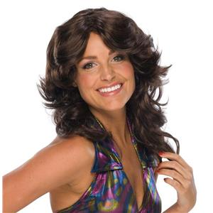 Deja Vu Retro Disco Hippie 70s Feathered Brown Wig
