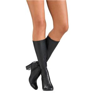 "Womens Sexy Black Mid-Calf Zip Up Go Go Boots 3"" Heel Size Large 9-10"