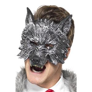 Silver Gray Deluxe Big Bad Wolf Costume Face Mask Adult Size