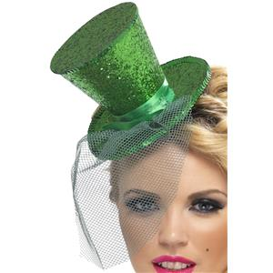 Green Glitter Mini Top Hat on a Headband Great for St. Patrick's Day