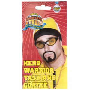 Herb Warrior Tash and Goatee Beard Facial Hair Set Costume Accessory Kit