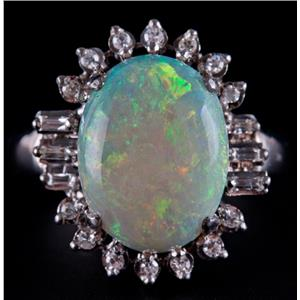 Vintage 1950's 14k White Gold Oval Cut Opal & Diamond Cocktail Ring 5.634ctw