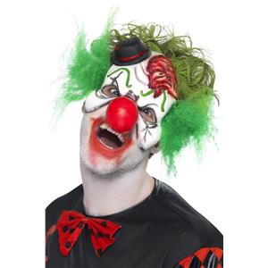 Cut Throat Clown Half Mask with Attached Hair