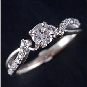 14k White Gold Round Cut Diamond Solitaire Engagement Ring W/ Accent .60ctw