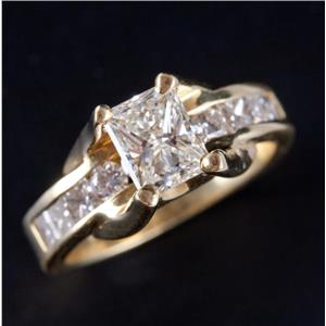 18k Yellow Gold Radiant Cut Diamond Solitaire Engagement Ring W/ Accents 2.27ctw