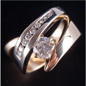 14k Yellow & White Gold Two-Tone Round Cut Diamond Cocktail Ring .99ctw