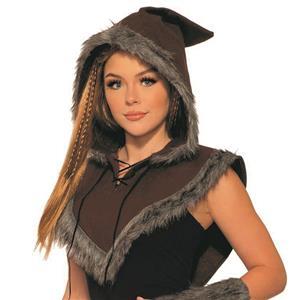 Viking Warrior Fur Trim Hooded Capelet Unisex Adult Costume Accessory