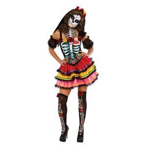 Women's Day Of The Dead Senorita Muerta Costume Small 2-6