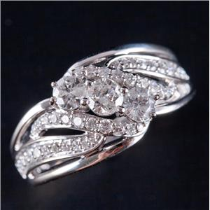 14k White Gold Round Cut Three-Stone Diamond Engagement Ring W/ Accents 1.25ctw