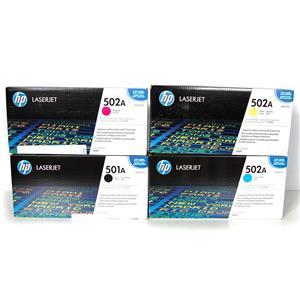 New Genuine HP LaserJet 502A/501A CMYK Print Cartridges