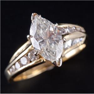 18k Yellow Gold Marquise Cut Diamond Solitaire Engagement Ring W/ Accent 2.29ctw