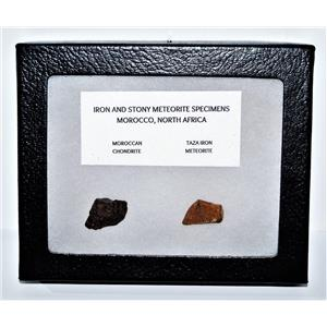 TAZA IRON METEORITE 9.1 gm AND Moroccan STONY 4.7 gm w/Display Box SDB #14443 6o