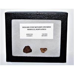 TAZA IRON METEORITE 6.8 gm AND Moroccan STONY 4.9 gm w/Display Box SDB #14446 6o