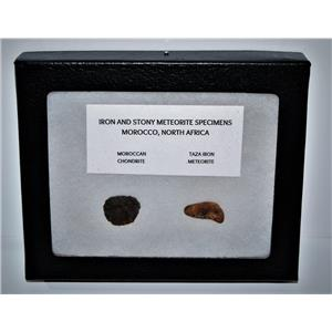 TAZA IRON METEORITE 4.3 gm AND Moroccan STONY 3.4 gm w/Display Box SDB #14447 6o