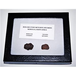 TAZA IRON METEORITE 3.9 gm AND Moroccan STONY 3.9 gm w/Display Box SDB #14448 6o