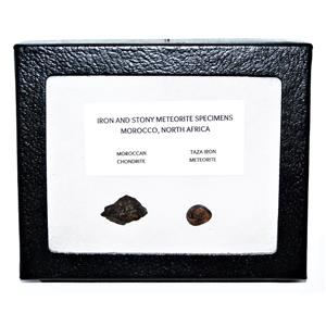 TAZA IRON METEORITE 3.6 gm AND Moroccan STONY 3.4 gm w/Display Box SDB #14449 6o