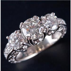 14k White Gold Round Cut Three-Stone Diamond Engagement Ring W/ Accents 2.32ctw