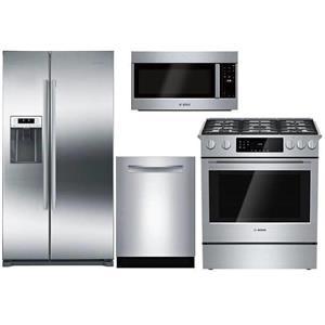 Bosch Full Stainless Refrigerator, Range, Dishwasher and Microwave Kitchen