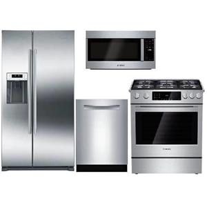Bosch Full Stainless Refrigerator, Microwave, Range and Dishwasher Kitchen