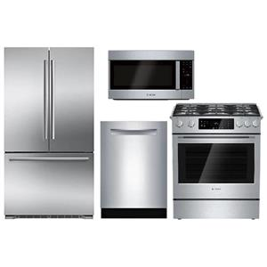 Bosch Full Stainless Refrigerator, Range, Microwave and Dishwasher Kitchen