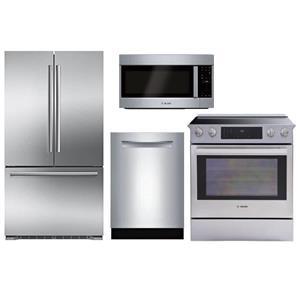Bosch Full Stainless Microwave, Refrigerator, Range, and Dishwasher Kitchen