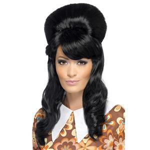 60's Brigitte Black Bouffant Wig