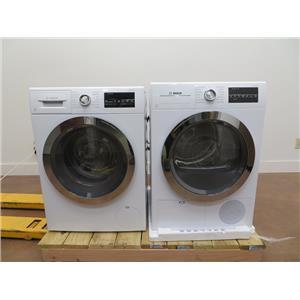 Bosch 800 Series White Interior Light Washer & Dryer Set WAT28402UC / WTG86402UC