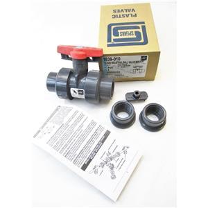 "Spears 1839-010 1"" PVC TU2000 Industrial Ball Valve SOC/FIPT New"