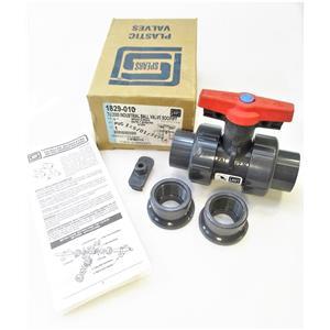 "Spears 1829-010 1"" PVC TU2000 Industrial Ball Valve SOC/FIPT EPDM New"