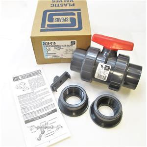 "Spears 3639-015 1 1/2"" PVC TU2000 Standard Ball Valve SOC/FIPT New"