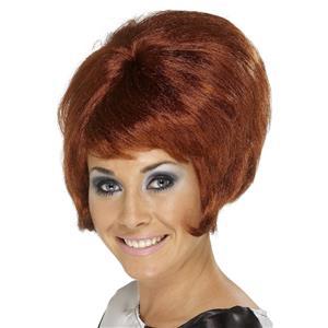 60's Auburn Beehive Cilla Presley Wig with Bangs
