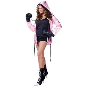 Knockout! Pink Boxer Robe & Boxing Gloves Adult Costume Set S/M 2-8