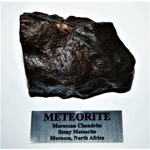 MOROCCAN Stony METEORITE Chondrite Genuine 481.9 grams w/metal label #14587 20o