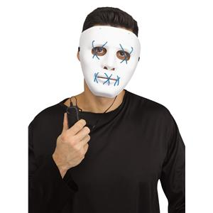 Scary Glowing Light up Purge Mask White Face with Glowing Blue Wire