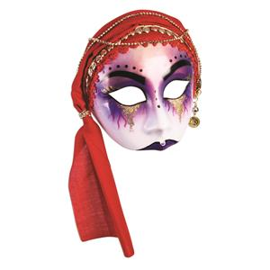 Gypsy Mystic Fortune Teller Half Mask with Red Scarf Adult Venetian Mask