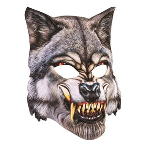 Mean Wolf Mask 3D Screen Print Realistic Soft Face Mask Fun Fur Adult Or Child