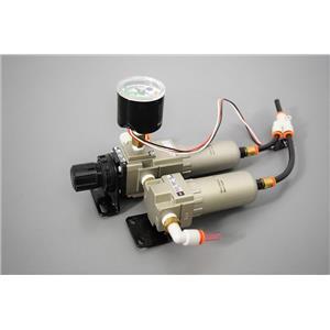 SMC Dual Compressed Air Filter, Regulator, and Gauge 150psi each Filter Warranty