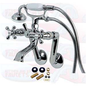 Chrome Clawfoot Tub Mounted Faucet With Hose & Hand Spray