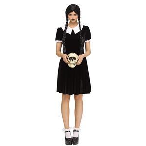 Gothic Girl Black Dress Wednesday Adams Adult Costume  M/L 10-14