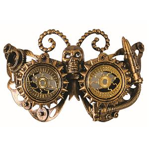 Gold Steampunk Eye Mask With Gears and Horned Skull